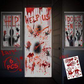 Halloween Decor Window Door Covers Set-4Pcs