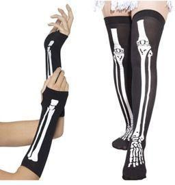 Skeleton Fingerless Gloves & Stockings