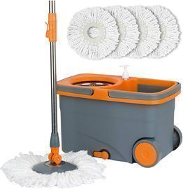 Casabella Microfiber Spin Mop and Bucket with 4 Refills