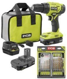 RYOBI ONE+ 18V 1/2 Drill/Driver Kit w/ Batteries, Charger, Bag + 22pc Titanium Drill Bit Set