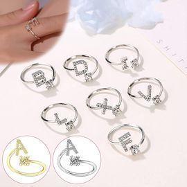 A-Z Crystal Adjustable Ring