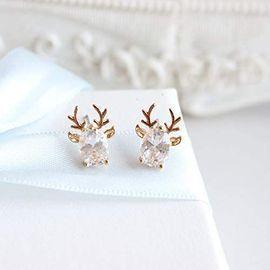 Crystal Gem Deer Stud Earrings
