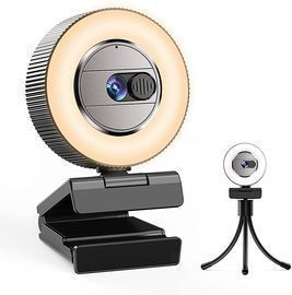 2K Quad HD Webcam with Microphone and Ring Light