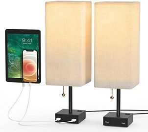 Tom-shine Table Lamp w/ Dual-USB Charging Ports & AC Outlet