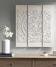 Maddison Park Wooden Mandala White 3D Embellished Canvas Wall Art