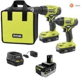 Ryobi ONE+ 18V Cordless 2-Tool Combo Kit + 3x Batteries, Charger, & Bag