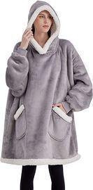 Bedsure Wearable Blanket Hoodie (Grey, Standard/Oversize)