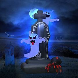 Kidjfgg 5.25' Inflatable Halloween Tombstone w/ 2 Ghosts