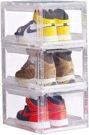 3pk Clear Plastic Shoe Boxes