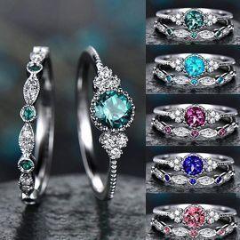 2Pcs Gemstone Ring Set