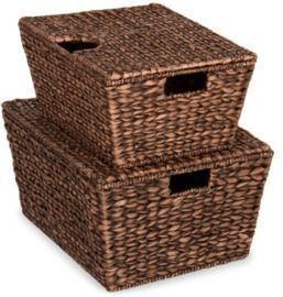 Set Of 2 XL Woven Water Hyacinth Storage Baskets