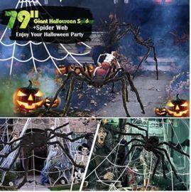 Outdoor Halloween Spiders with Web