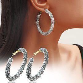 Glitter Bling Hoop Earrings
