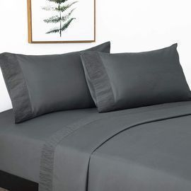 4 Pieces Microfiber Bed Sheets - Full/King Dark Grey