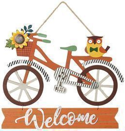 Fall Decorations Welcome Bicycle Sign