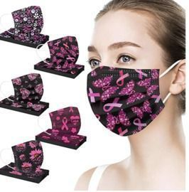 50Pcs Breast Cancer Awareness Disposable Face Coverings