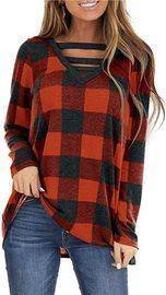 Wmzcyxy Women's Plaid V-Neck Long Sleeve Tunic (Various Colors)