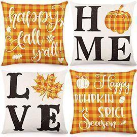 18 x 18 Cdwerd Buffalo Plaid Autumn Farmhouse Pillow Cover Set