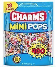 Charms Mini Pops 18 Assorted Lollipop Flavors w/ Resealable Bag