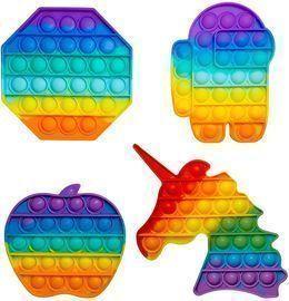 4Pcs Pop-it Fidget Toys Packs  Rainbow