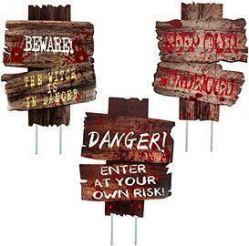 Ouddy Halloween Beware Yard Signs (3-Pack)