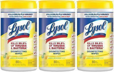Lysol Disinfectant Wipes 240-Count 3-Pack