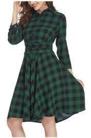 Plaid Dress 3/4 Sleeve Button Down