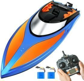 Remote Control Boat w/ 25+ mph Speed, 4 Channel 2.4GHZ Remote Control, and Rechargeable Battery