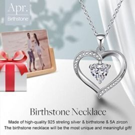 Esberry Forever Love Heart Necklace Jewelry 18K White Gold/Rose Gold Plated Birthstone Pendant