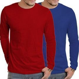 Men's 2 Pack Casual Full Sleeves T-Shirts