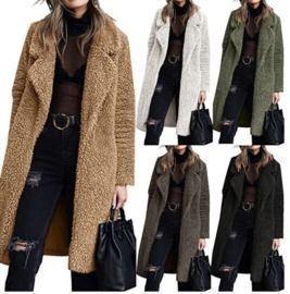 Fuzzy Fleece Lapel Open Front Outwear Jackets