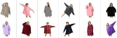 Super Soft Warm Comfortable Sherpa Wearable Blanket with Giant Pocket (Adults & Kids)