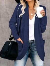 LEANI Womens Long Sleeve Cable Knit Cardigan - Open Front Loose Sweater
