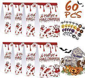 Halloween Treat Bags w/ Stickers, 60ct