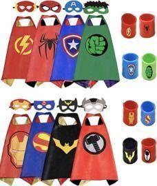 8PC Kids Dress Up Superhero Capes Set & Slap Bracelets
