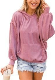 Womens Corduroy Hoodie - Ribbed Pullover Tops With Pockets