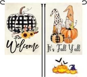 2Pcs Welcome Fall Garden Flag, 12 x 18 Inch Burlap Double Sided - stand not included