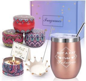 Insulated Wine Tumbler and 4 Pack Candles
