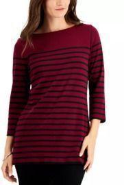 Karen Scott Striped Boat-Neck Top