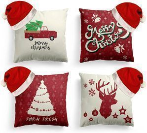 8PC Christmas Pillow Covers and Hats