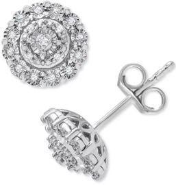 Macys 1/10 ct. t.w. Diamond Halo Cluster Stud Earrings