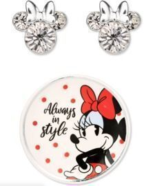 Disney Minnie Mouse Crystal Studs in Sterling Silver w/ Trinket Dish