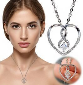 Concentric Knot Love Rhinestone Necklace