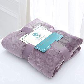 Fleece Throw Blanket-Violet and Navy