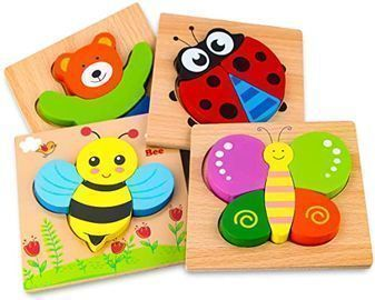 SKYFIELD Wooden Animal Puzzles for Toddlers