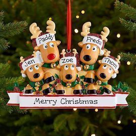Personalized Deer Family Christmas Tree Ornament