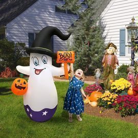 5 FT Halloween Inflatables Cute White Ghost