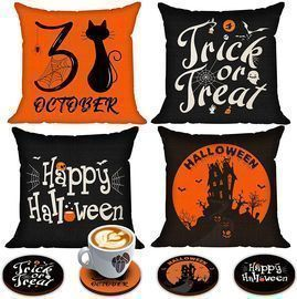 Set of 4 Halloween Pillow Covers