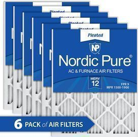 Nordic Pure 16x20x1 MERV 12 Pleated AC Furnace Air Filters 6 Pack