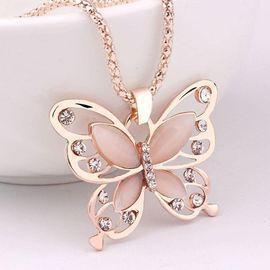 Butterfly Opal Rhinestone Necklace